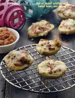 Baked Jacket Potatoes with Baked Beans and Cheese