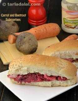 Carrot and Beetroot Hot Dog Rolls
