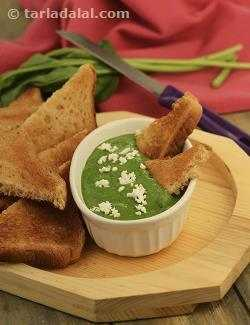 Toast with Spinach Dip ( Healthy Starter Recipe )