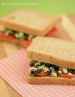 Tomato , Basil and Feta Cheese Sandwich