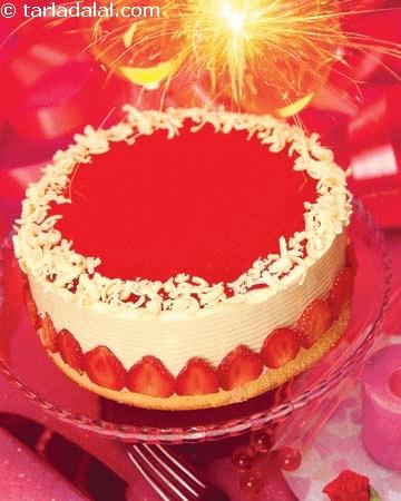 Eggless Strawberry Cake Recipe Tarla Dalal