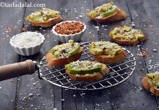 Avocado and Coconut Crostini