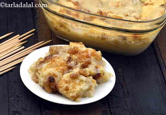 Bread and Butter Pudding, Eggless Bread and Butter Pudding Recipe