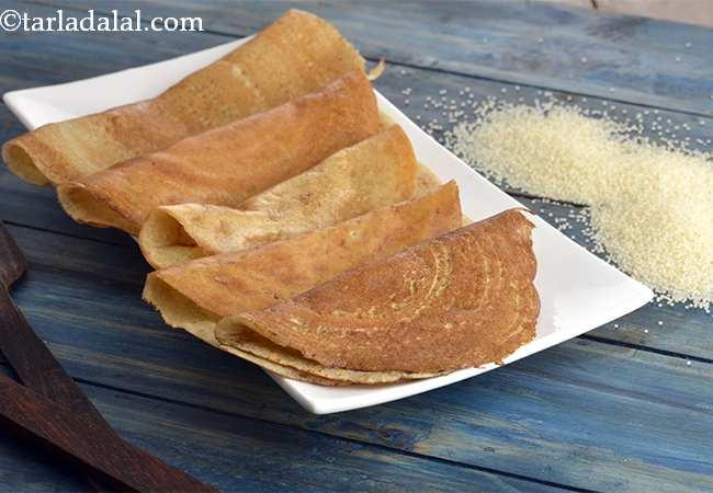 फराली दोसा | व्रत वाला डोसा | व्रत के लिये समा का दोसा - Farali Dosa, Faral Foods Recipe - How To Make Farali Dosa, Faral Foods