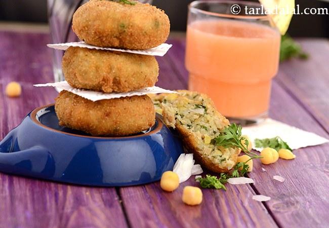 Garlicky Chick Pea, Potato and Soya Tikki