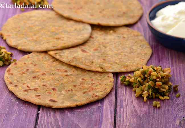 Green Moong Dal and Spring Onion Paratha