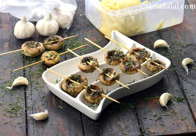 Grilled Mushrooms in Garlic and Dill