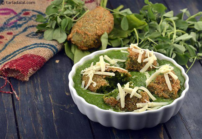 Hara Bhara Kebab in Green Gravy