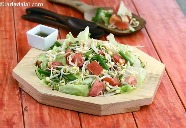 लेट्यूस बीन स्प्राउट्स सलाद रेसिपी | भारतीय स्टाइल बीन स्प्राउट्स इन लेमन ड्रेसिंग | स्वस्थ लेट्यूस | Lettuce and Bean Sprouts Salad in Lemon Dressing