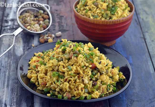 ब्राउन राईस के साथ मिले-जुले अंकुरित दाने की रेसिपी - Mixed Sprouts Brown Rice, Healthy Sprouts Pulao