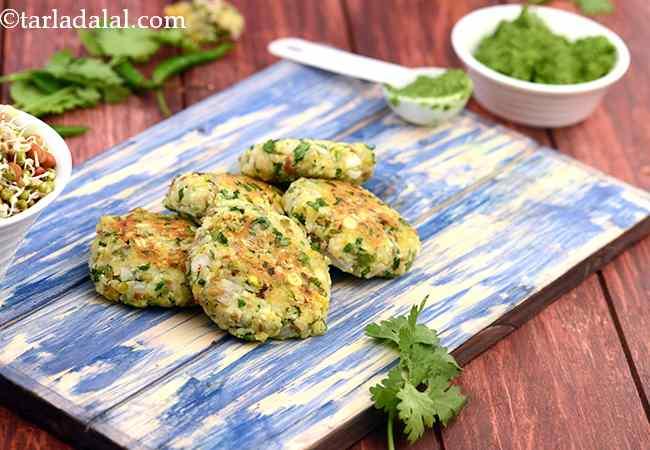 मिक्स्ड स्प्राउट्स् एण्ड चना दाल टिक्की - Mixed Sprouts and Chana Dal Tikki