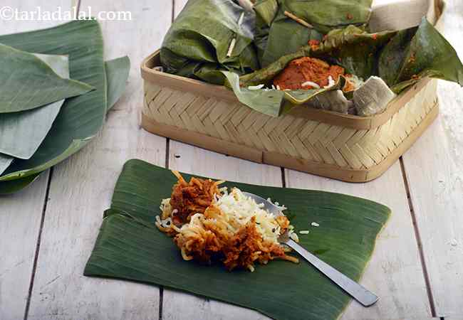 Rice and Curry in Banana Leaves