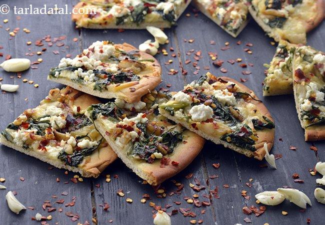Ricotta Spinach and Garlic Pizza