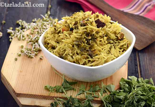 Sprouted Moong Methi Pulao