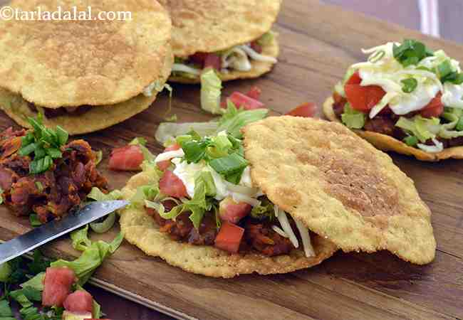 Tostadas Stuffed with Refried Beans and Sour Cream