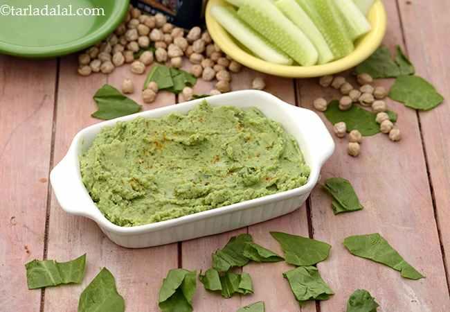 Spinach Hummus with Cucumber Sticks ( Tiffin Treats)