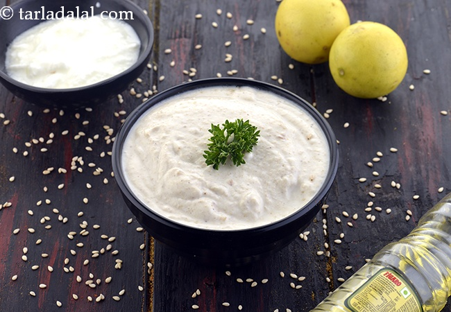 ताहिनी डिप रेसिपी | ताहिनी सॉस | ताहिनी सॉस बनाने का आसान तरीका | ताहिनी सॉस घर पर बनाने की विधि | Tahini Dip, Lebanese Tahini Sauce